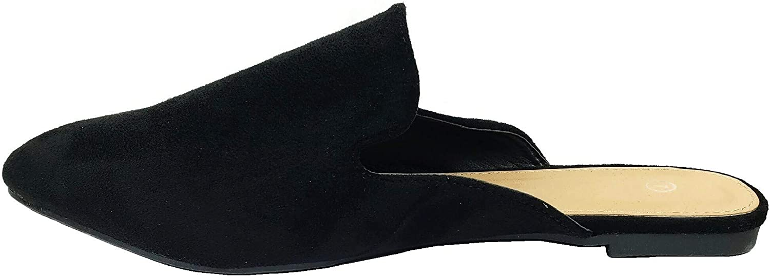 Womens Backless Slip On Loafer Flats Mules Low Heel Shoes