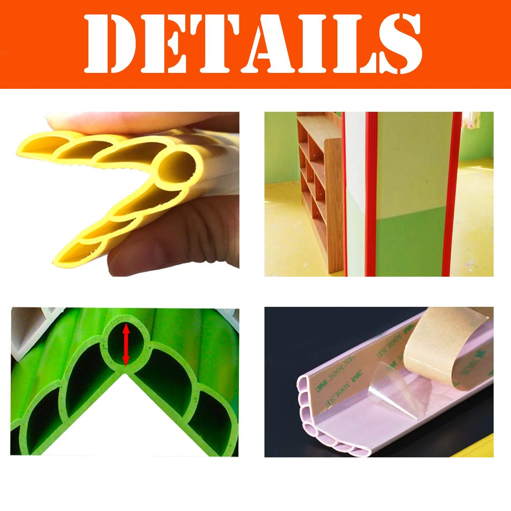 GettyGears Upgraded PVC Baby Proofing Edge & Corner Guards Safe Edge & Corner Cushion Child Safety Furniture Bumper Flame Retardant Anti-Collision Cushion Corner Bumpers 46'' Inch 3PCs Grey