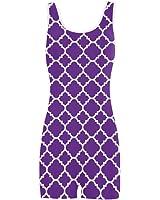 Artsadd Royal Purple White Quatrefoil Classic Pattern Classic One Piece Swimwear Swimsuit