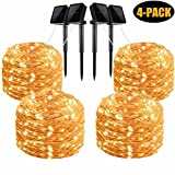 LiyuanQ Solar String Lights, 4 Pack 100 LED Solar Fairy Lights 33 Feet 8 Modes Copper Wire Lights Waterproof Outdoor String Lights for Garden Patio Gate Yard Party Wedding Indoor Bedroom Warm White