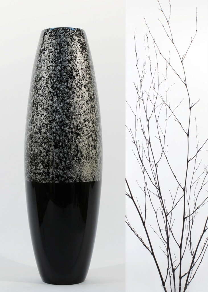 GreenFloralCrafts 47'' Lacquer Cylinder Floor Vase & Botanicals Kit- Silver Swirl
