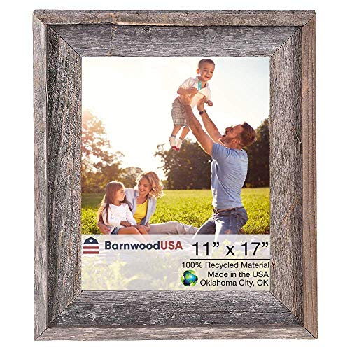 BarnwoodUSA Rustic Farmhouse Signature Picture Frame - Our 11x17 Picture Frame can be Mounted Horizontally or Vertically and is Crafted from 100% Recycled and Reclaimed Wood | No Assembly Required