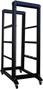 RAISING ELECTRONICS 27U 4 Post Open Frame Network Server Rack 19inch Width 600mm deep with 3 Pairs of L Rail