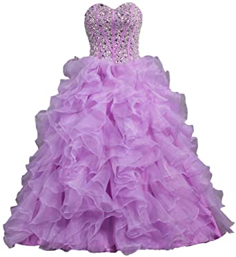 ANTS Womens Strapless Bead Ruffle Organza Ball Gown Prom Dresses - Purple -