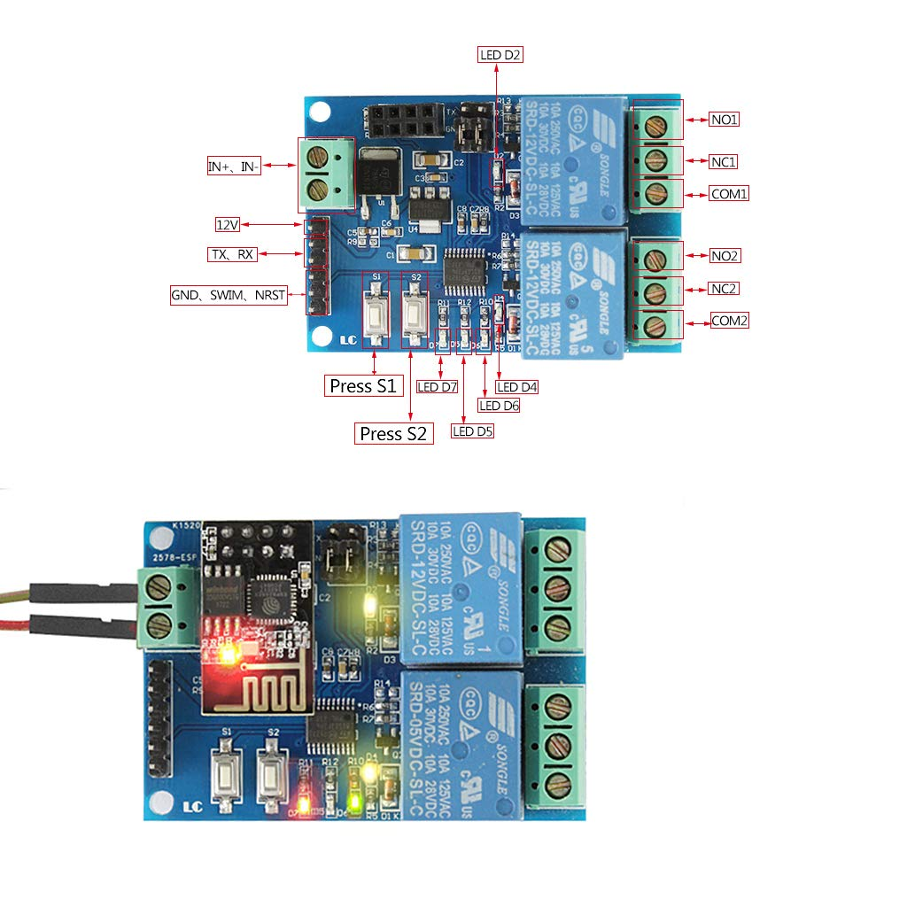 WIFI Relay Module ESP8266 IOT APP Controller Relay Board 12V 2 Channel Relay for Smart Home