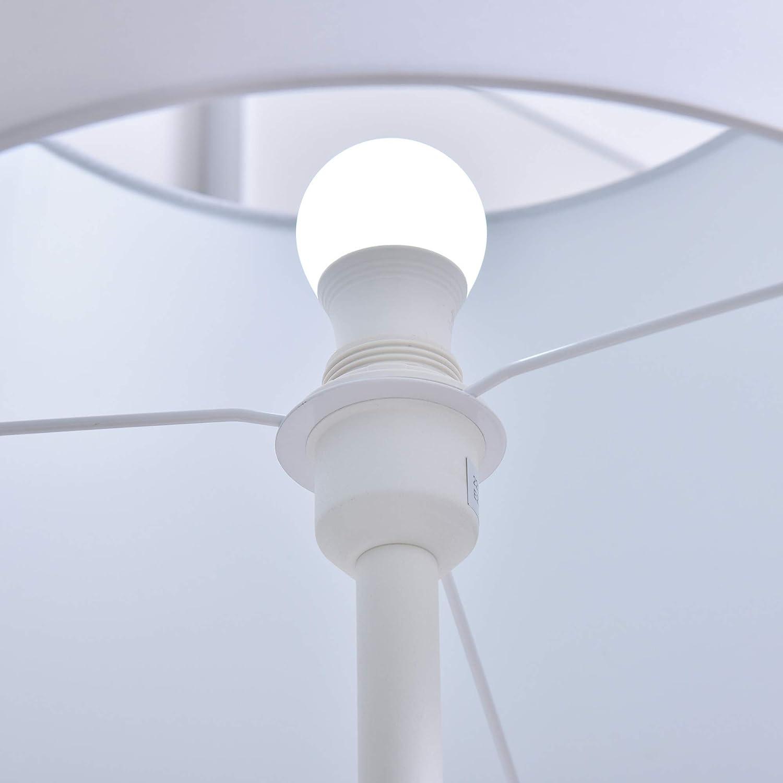 in metallo HOMCOM Lampada da Terra con scaffale paralume in tessuto base in marmo rotonda bianco 40x40x152cm