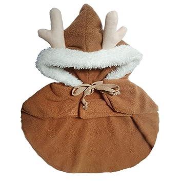 WangWtry Lindo Vestido de Navidad Cuernos de Reno Elk Capa Cachorro Gato  Capa Astas Sombrero Gorra Ropa para Perros para Perros pequeños 6783bd90a69