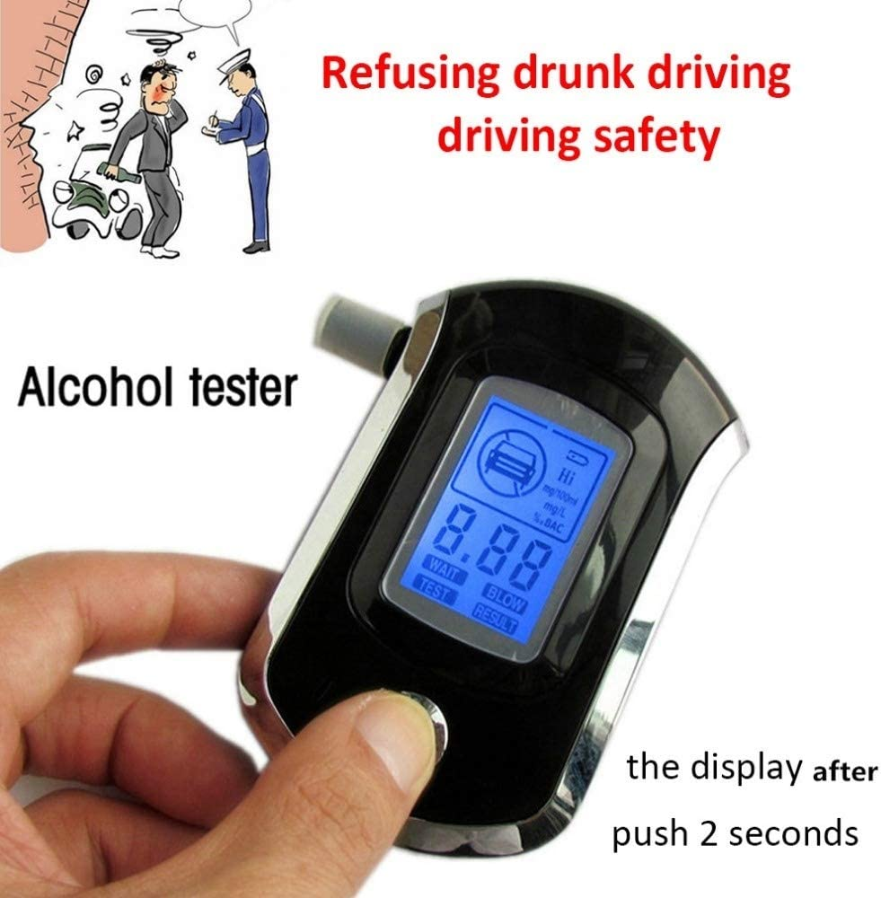 OMORC GECA002BB-Ry0606 Breathalyzer Professional Semiconductor Digital LCD Display Alcohol Tester with 20 Mouthpieces