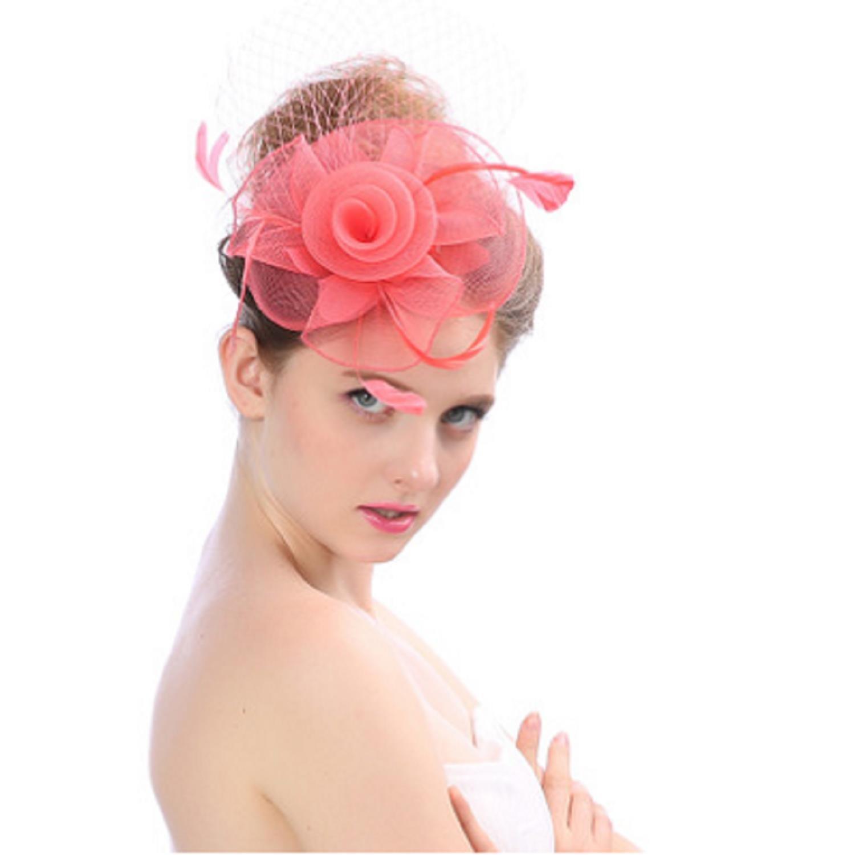 96c5f054048 Amazon.com   Enioybeauty Flower Hair Clip Fascinators Cocktail Tea Party Hat  Feather Mesh Veil (Water Melon)   Beauty