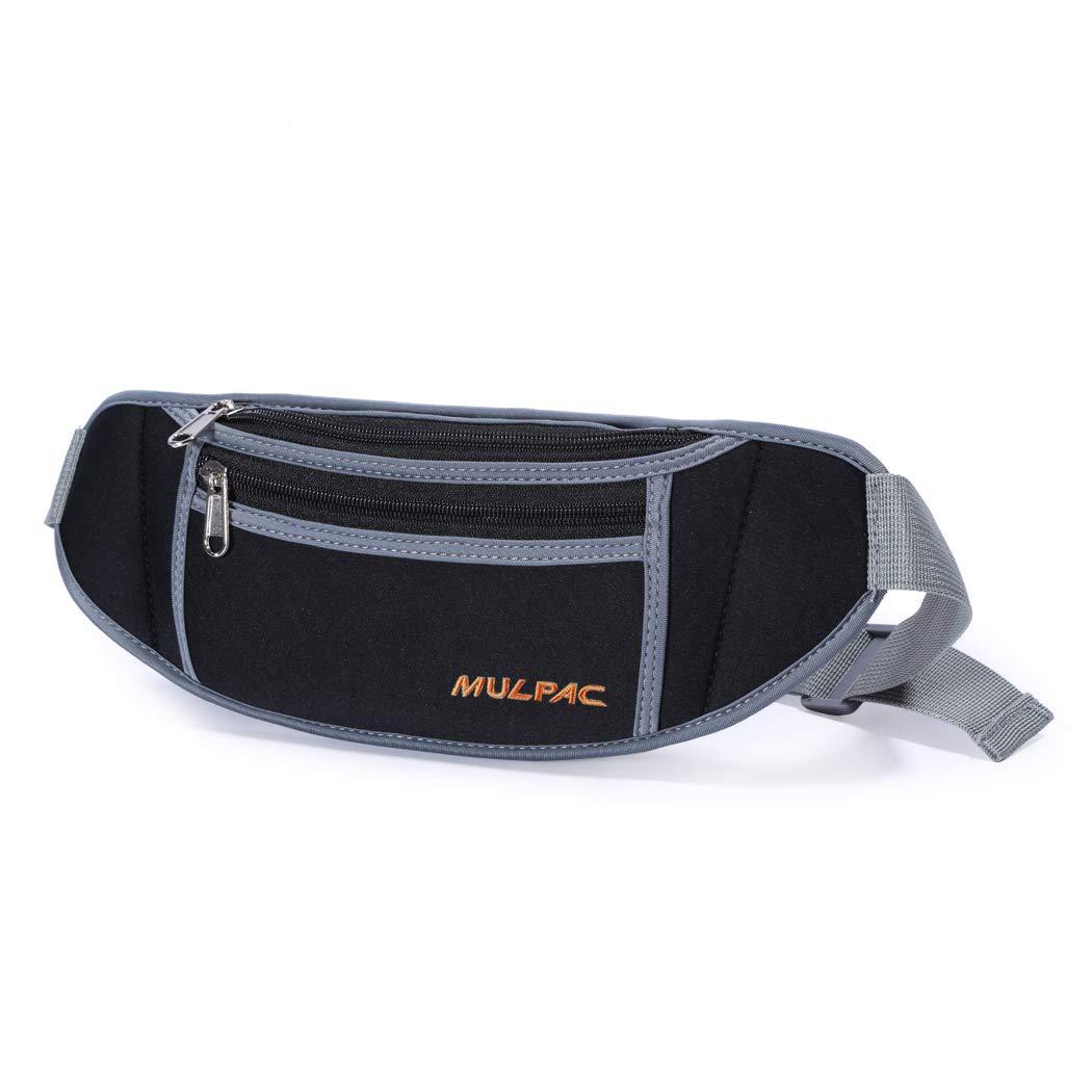 Black Mulpac Travel Money Belt for Men Women Waist Wallet with 10 RFID Blocking Sleeves Set