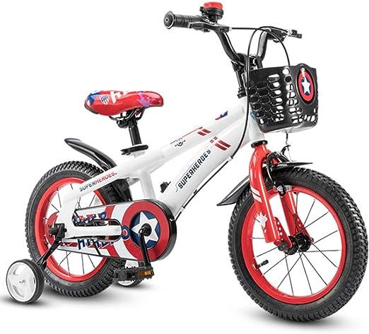 YWZQ Bicicleta para niños, Bicicletas para niños y niñas Asientos portátiles neumáticos Antideslizantes Resistentes Frenos Dobles Seguros y sensibles, Regalos de Juguetes para niños,White,18inch: Amazon.es: Hogar