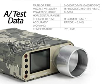 OAREA Testeur de Vitesse de chronographe de tir Tactique X3400 Airsoft pour BB Ball//Paintball