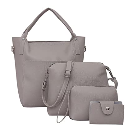 d75ad6f61cba Amazon.com  Women Four Bag Set Big Handbag + Small Crossbody Shoulder Bags  +Zipper Clutch Purse Bag with Strap +Card Holder (Gray)  Musical Instruments