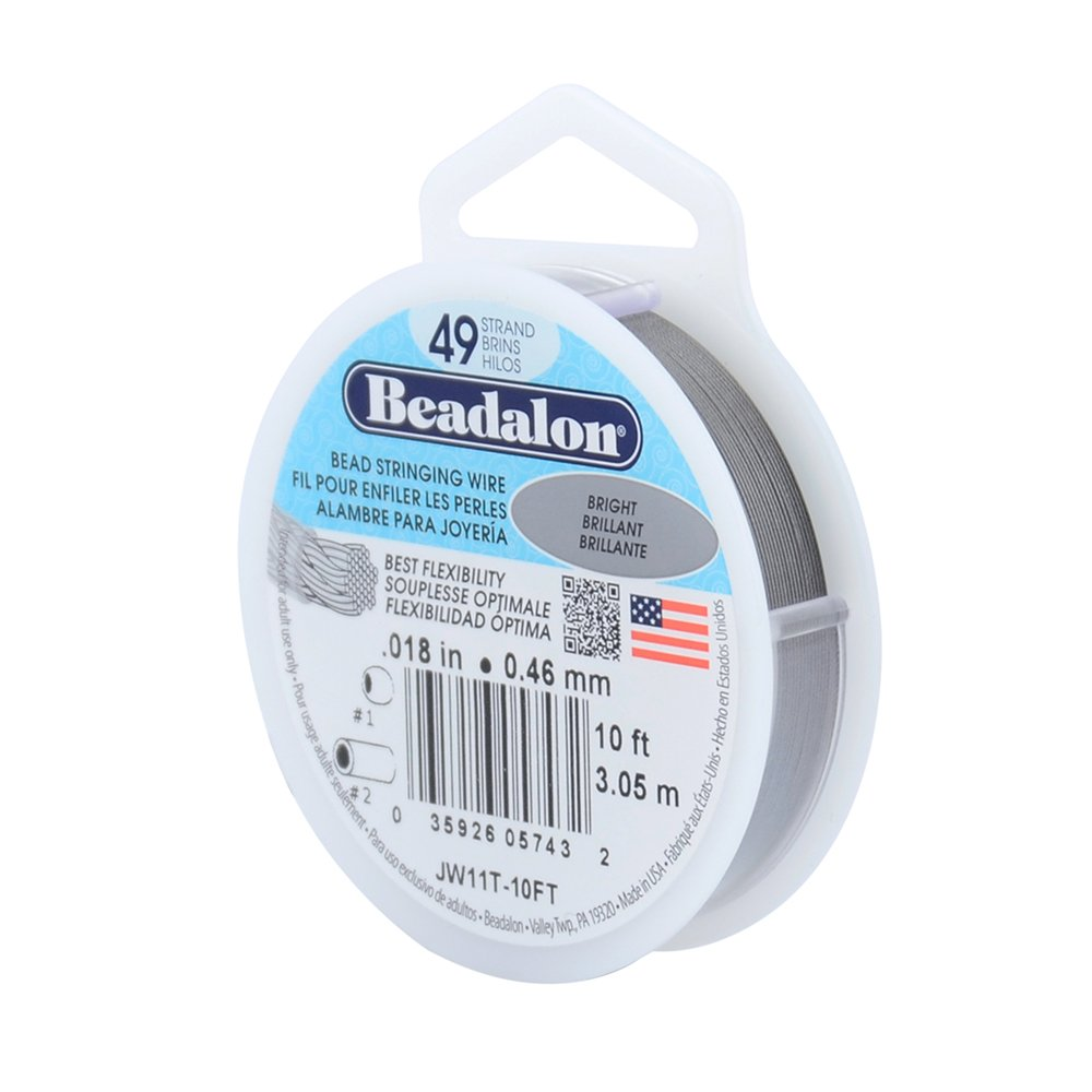 Beadalon 49 Strand Stainless Steel Bead Stringing Wire.018-Inch/10-Feet, Bright