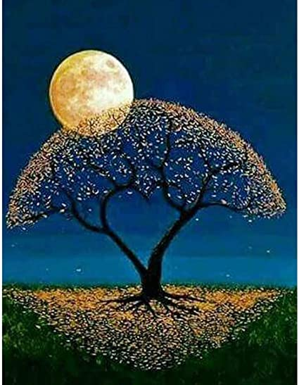 Lataw 5D DIY Crystal Diamond Painting Kits for Adults DIY Handwork Full Square Drill Moon Tree Cross Stitch Art Craft Gift Embroidery Home Decoration Wall Sticker 11.8X15.7 in