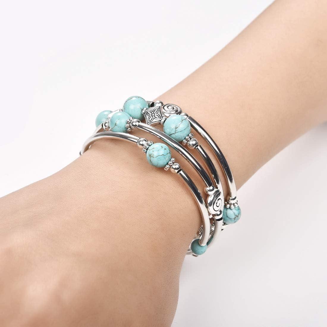 DALARAN Beaded Chakra Bangle Turquoise Bracelet Wrap Bracelet with Thick Silver Metal and Mala Beads