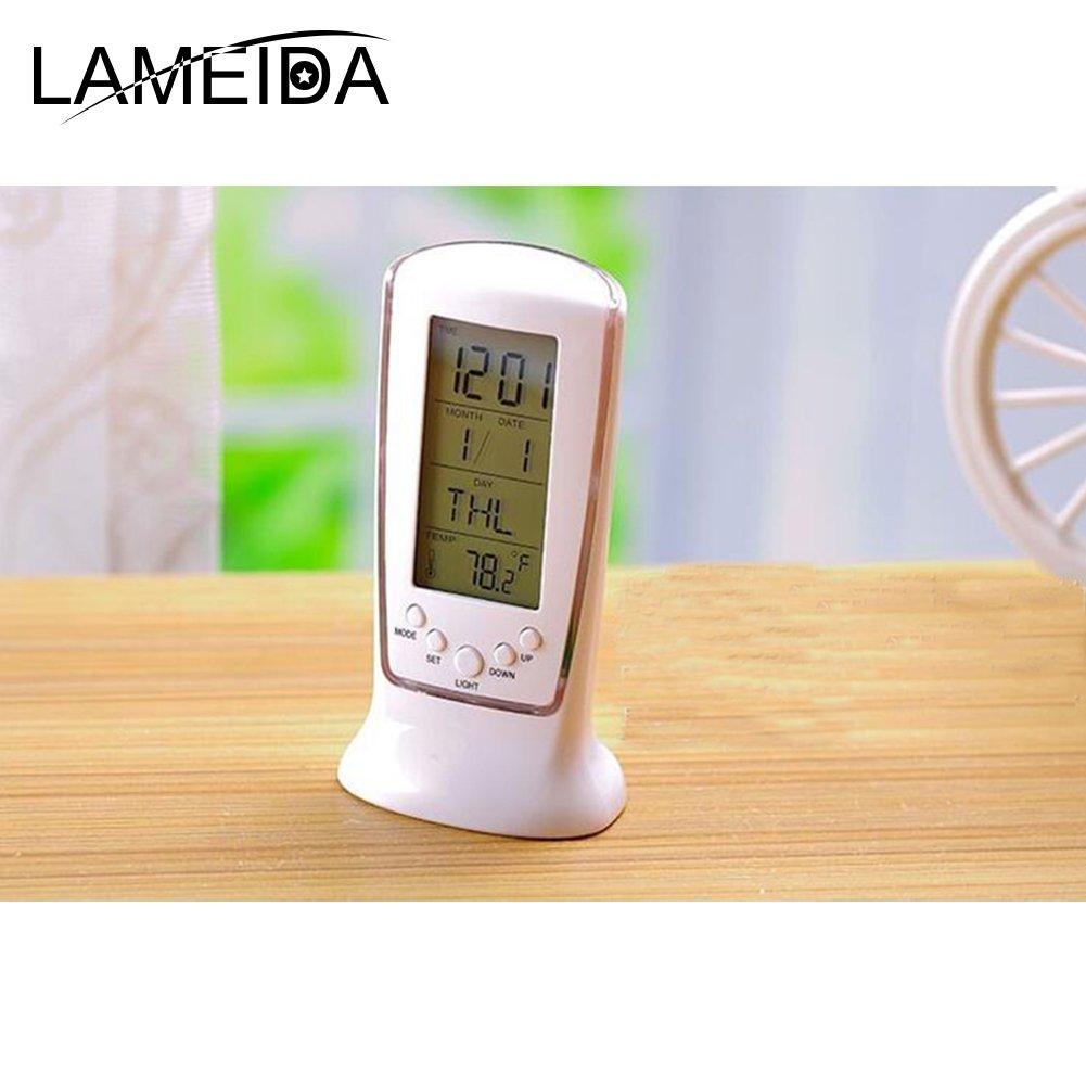 Lameida Mode Bureau LED Digital Horloge R/éveil Horloge de bureau avec thermom/ètre Calendrier Date anniversaire pour Rappeler lHome Office Vie quotidienne,