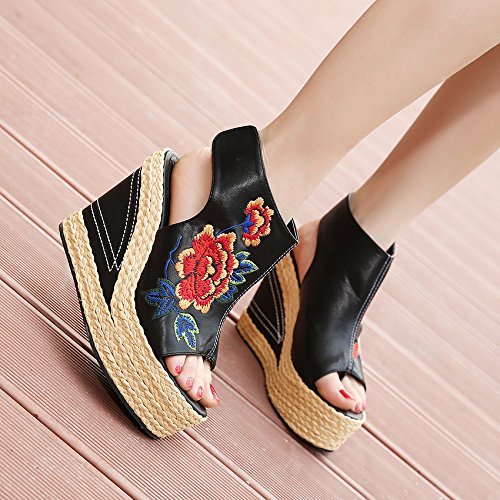 Sandals New Danfeng Embroidery Shoes Folk Fish Style nine The Straw Thirty KHSKX Mouth Shoes Slope Toe Shoes p8qXB5