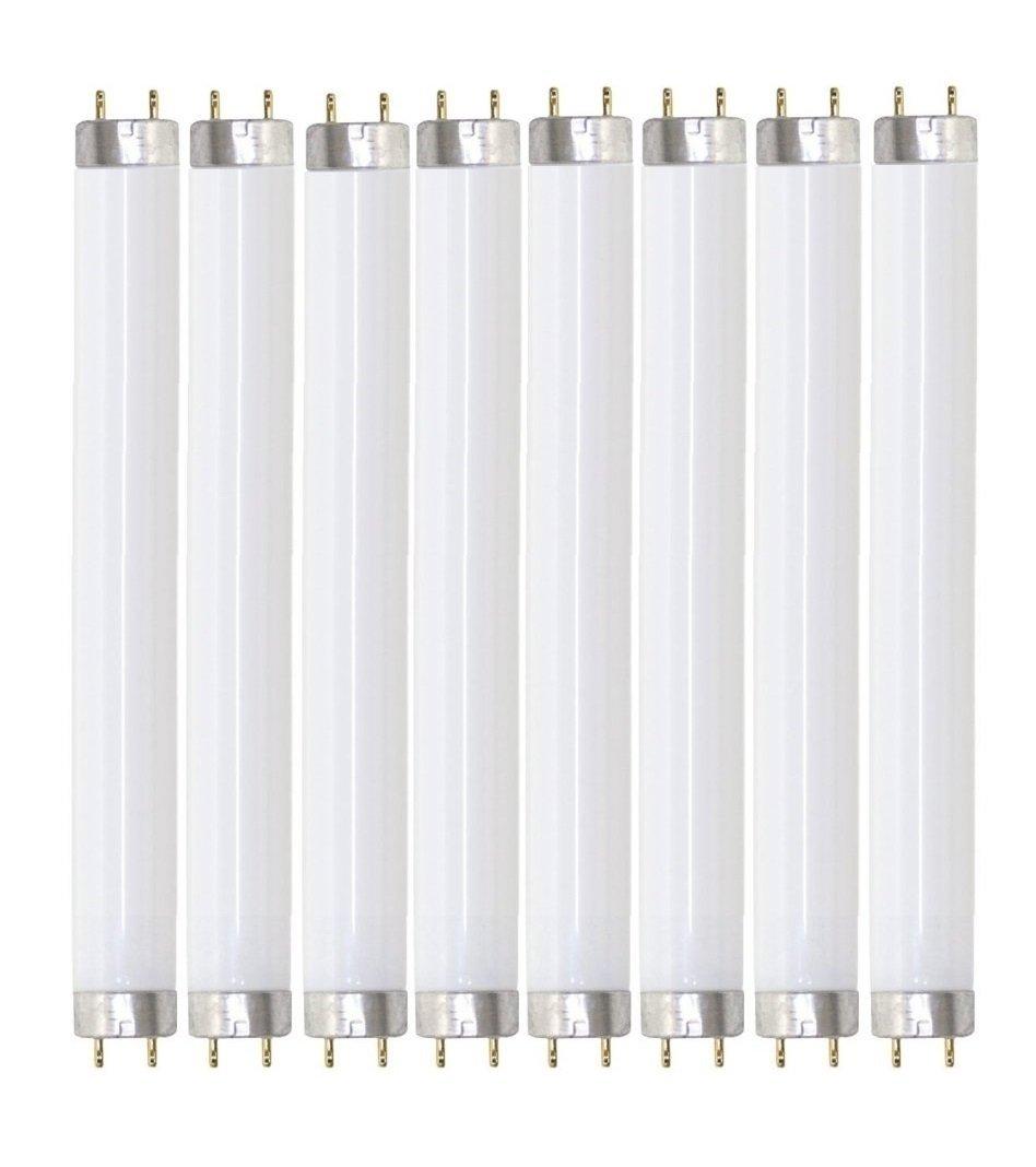 Pack of 8 F17T8/850 17 watt 24'' Straight F17 T8 Medium Bi-Pin (G13) Base, 5,000K Bright White Octron Fluorescent Tube Light Bulb