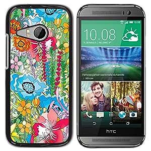 TopCaseStore / la caja del caucho duro de la cubierta de protección de la piel - Hipster Painting Petals Nature Positive - HTC ONE MINI 2 / M8 MINI