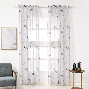 Kotile Light Grey Sheer Curtains - Rod Pocket Feathers Print Sheer Curtain 84 Inch Length for Bedroom, 52 x 84 Inch, Set of 2 Panels