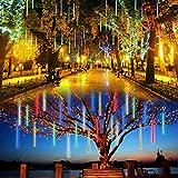 Lalapao Outdoor Christmas String Lights Solar Powered LED Meteor Shower Rain Lights Falling Raindrop Light 10 Tubes 360 LED Cascading Fairy Lights for Xmas Tree Garden Wedding Party Decor(Multi-color)