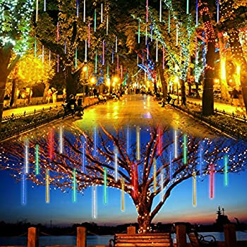 lalapao outdoor christmas string lights solar powered led meteor shower rain lights falling raindrop light 10 - Raindrop Christmas Lights