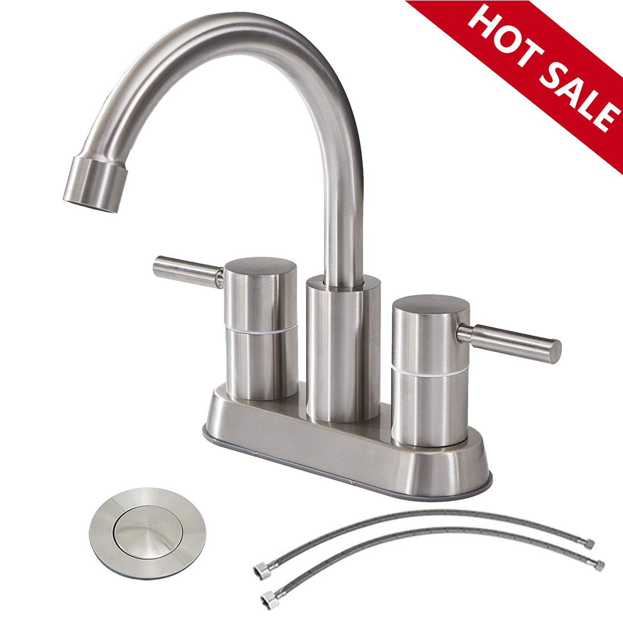 Commercial Double Handle Brushed Nickel Bathroom Faucet, Stainless Steel Bathroom Sink Faucet Lavatory Faucets With Pop-Up Drain and Hot & Cold Water Hose by IKEBANA