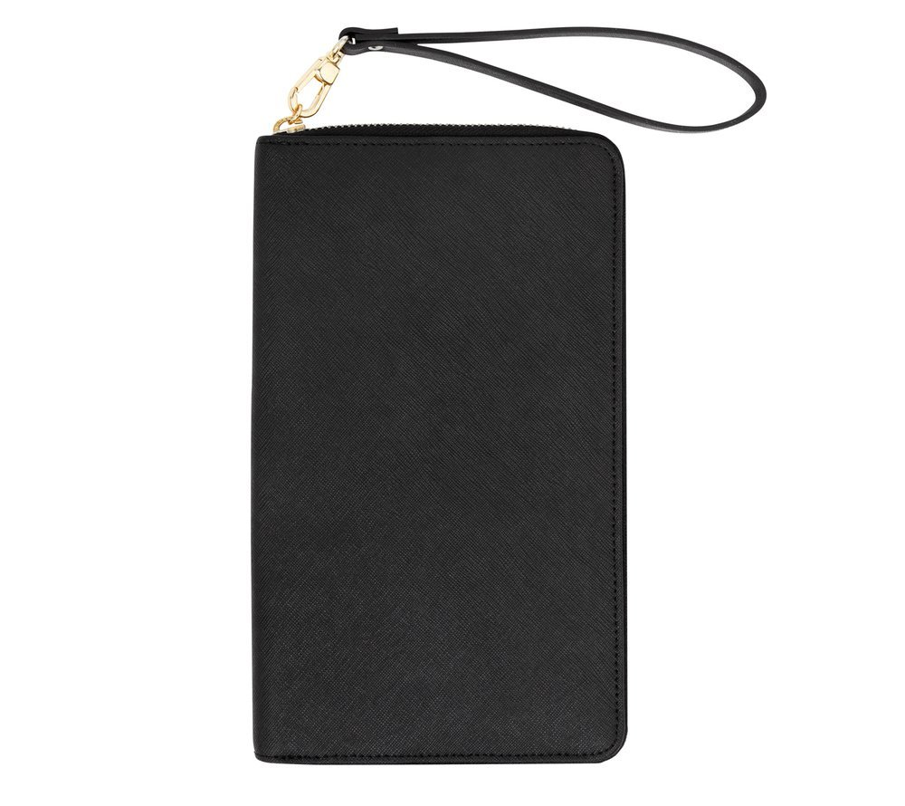 kikki.K Textured Leather Zippered Travel Wallet: Black