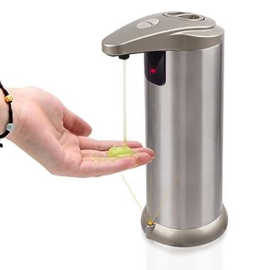 Cakie Soap Dispenser, Stainless Steel Automatic Sensor Soap Dispenser with Waterproof Base & IR Sensor for Kitchen, Bathroom, Office, School, Hotel and Restaurant (white) (white)