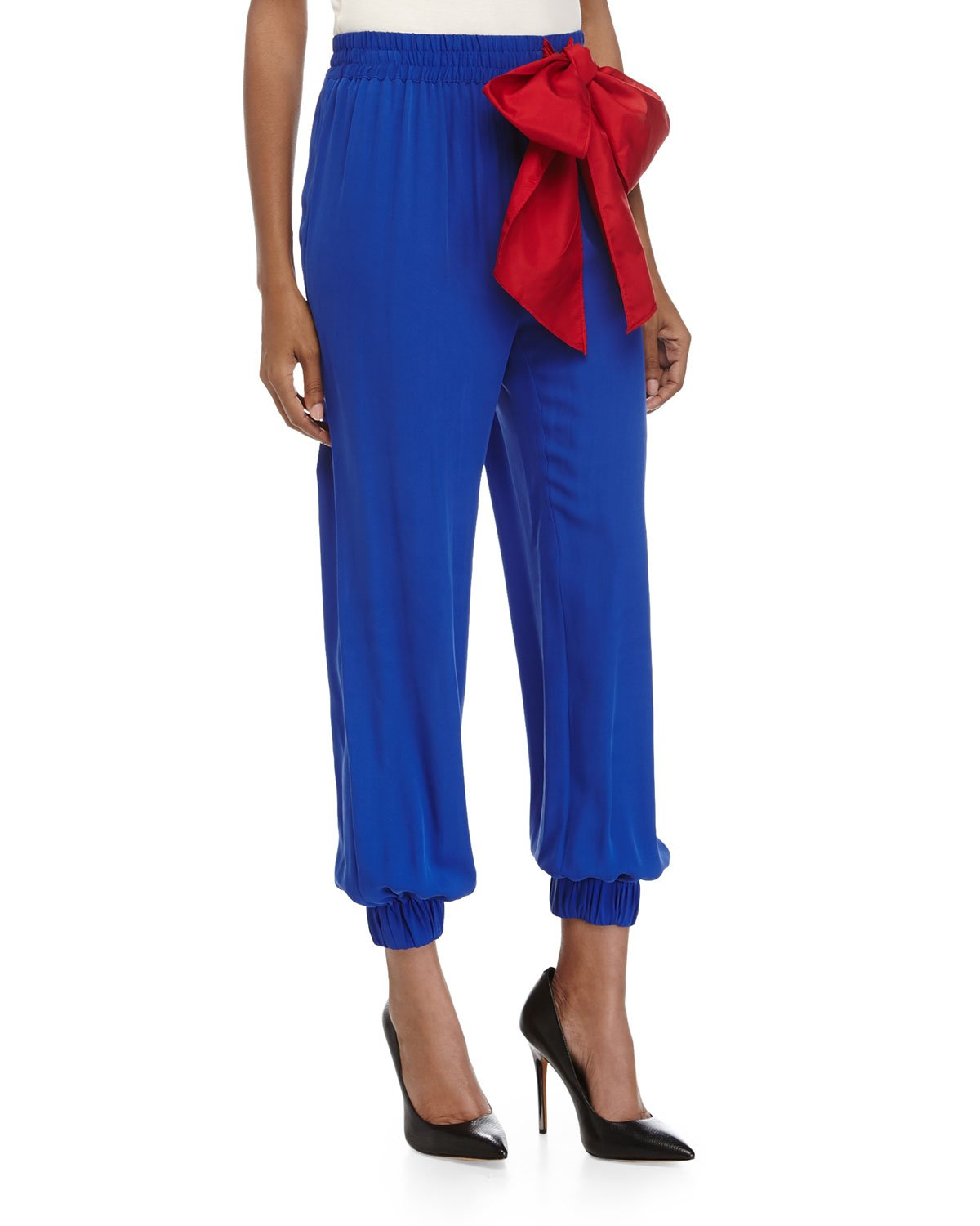 Red Valentino Silk Tie Pants (42, Blue)