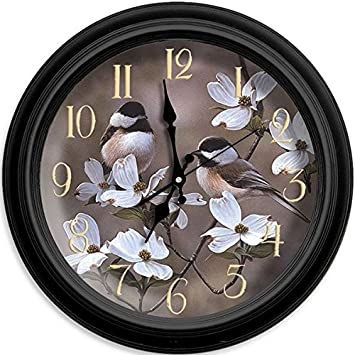 Reflective Art Spring Time Chickadees Classic Clock, 16-Inch