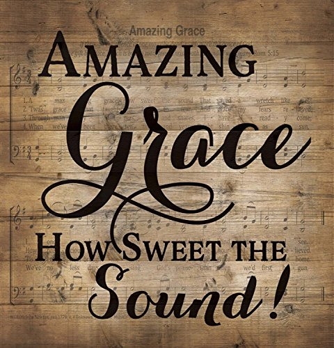 Amazing Grace Sheet Music Design 12 x 12 Wood Lath Wall Art Sign Plaque (Grace Wall Amazing)