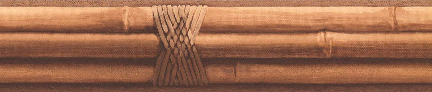 Decorative Wallpaper Border Featuring Bamboo Sticks, Colors Brown Beige, Size 4 Inch by 15 Ft Prepasted FR4946B