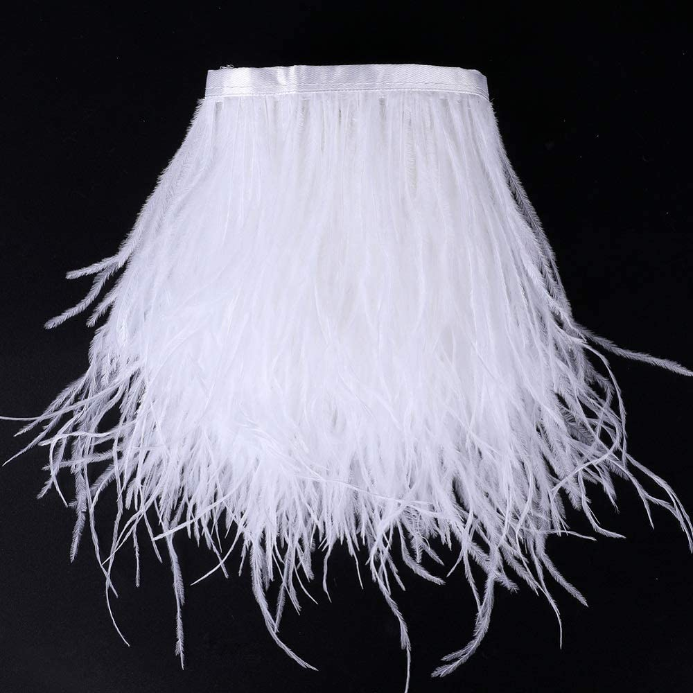 MIPPER 2 Yards Natural Ostrich Feather Fringe Ribbon Trim 4~5 Inch for Apparel Skirt Wedding Decoration White