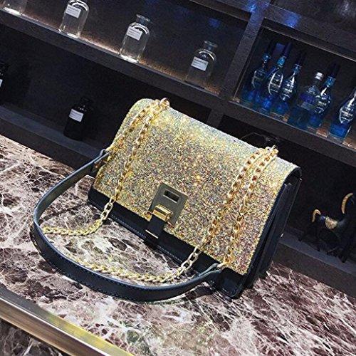 Crossbody La Moda Yu·casa Elegante Liu Los Hombro Cadena tamaño Lentejuela Partido De 15cm Creativa Mensajero Del 9 Bolso 22 Black color Oro gSn8IW