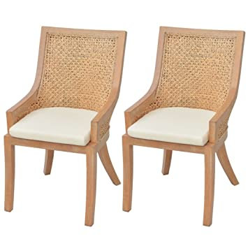 Vidaxl 2x Chaise De Salle A Manger Rotin Chaise De Cuisine Chaise A