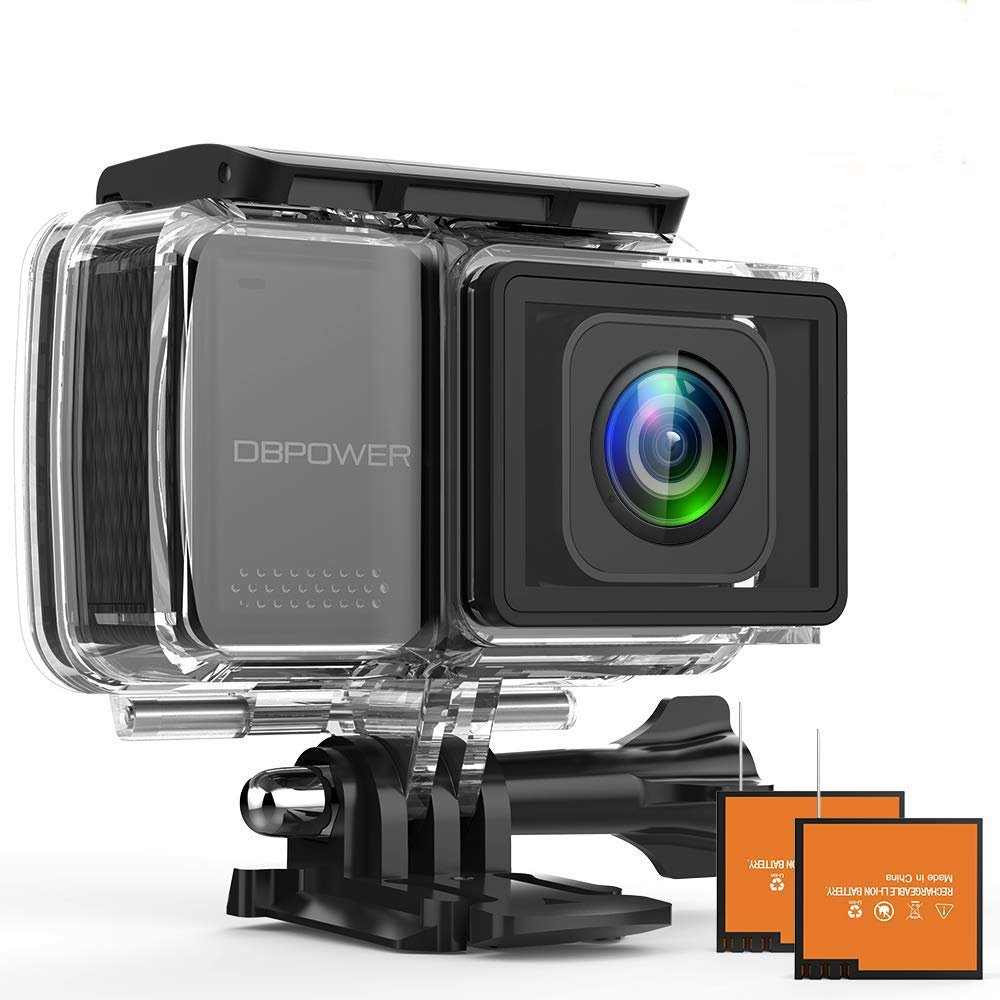 DBPOWER EX7000 PRO 4K Action Camera 2.45'' LCD Touchscreen Underwater Camera with 16MP Sony Image Sensor Waterproof Sports Cam and 170° Wide-Angle Lens 2X Rechargeable Batteries by DBPOWER