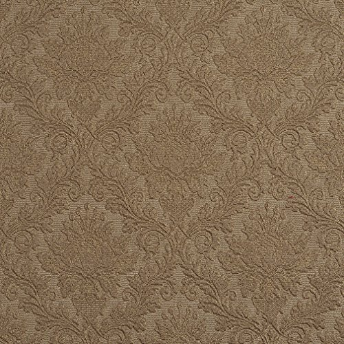 Sand Beige and Brown Heirloom Vintage Cameo Brocade Upholstery Fabric by the yard