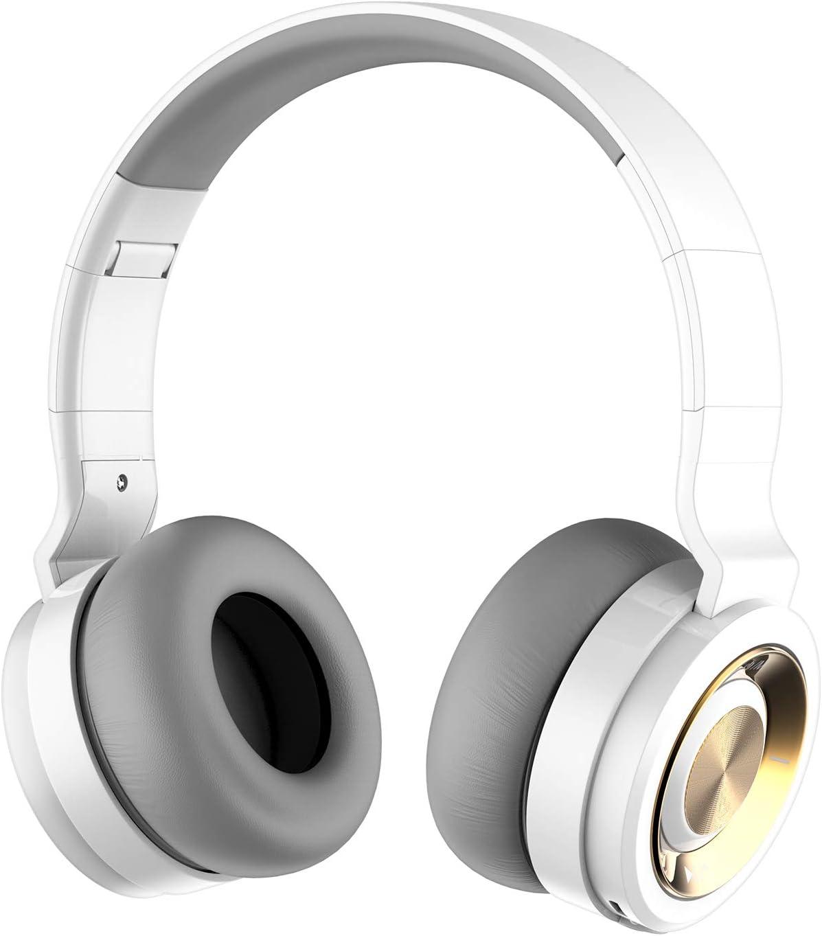 Alitoo Auriculares Inalámbricos Bluetooth con Micrófono Hi-Fi Deep Bass Auriculares Inalámbricos sobre El Oído, Almohadillas de Protección Cómodo, 12 Horas de reproducción de música (Oro Blanco)