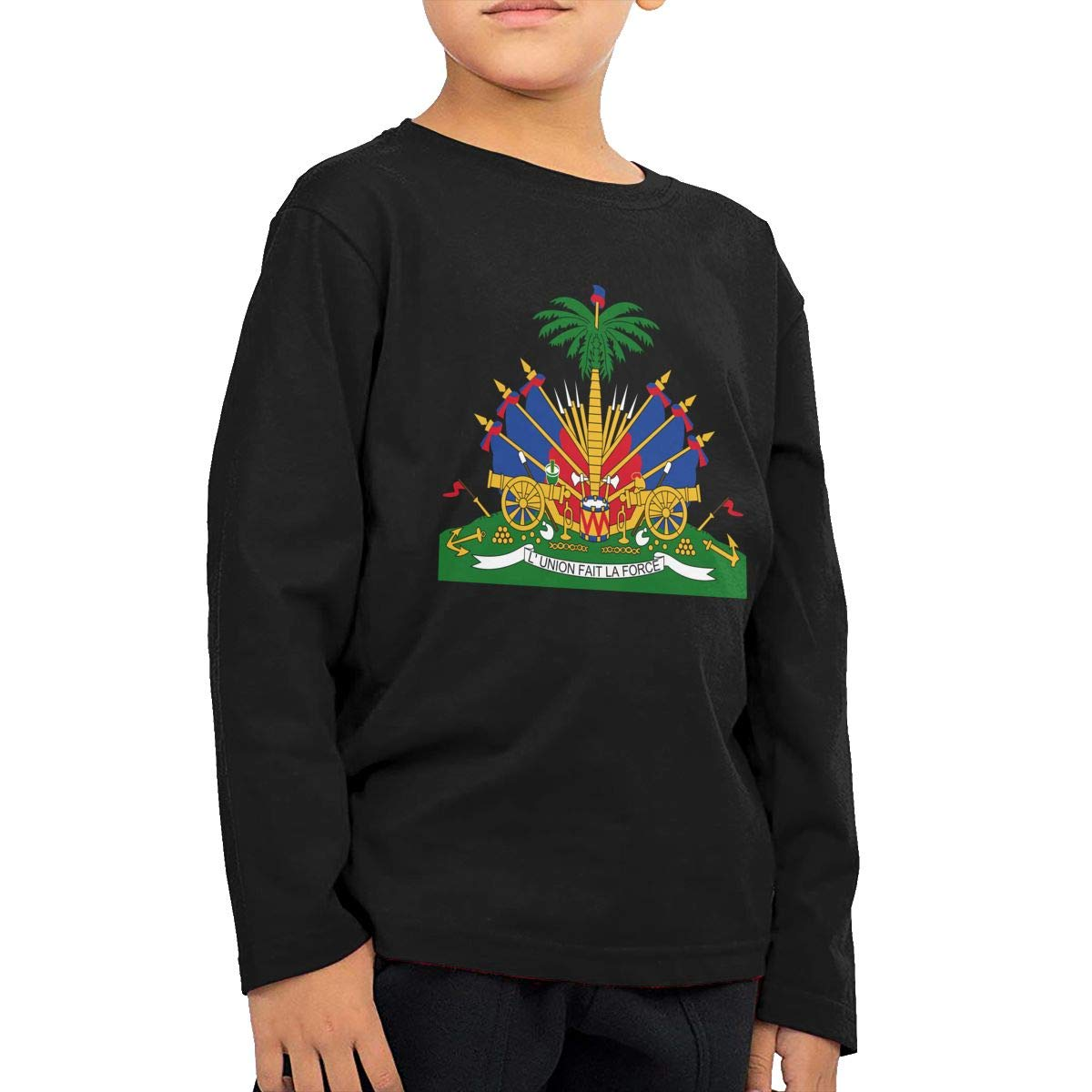 Boys Girls HIGASQ Unisex Baby Coat of Arms of Haiti Toddlers Long Sleeve Round Neck Casual Pullover T Shirt for Kid