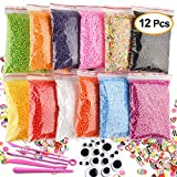 Kuuqa 12 Packs Slime Foam Balls Set Craft Foam Beads Micro Polystyrene Styrofoam balls 0.08-0.15 Inch with Slime Tools and Fruit Slime Mini Craft Accessories Fit for Kids Slime Party Decorations