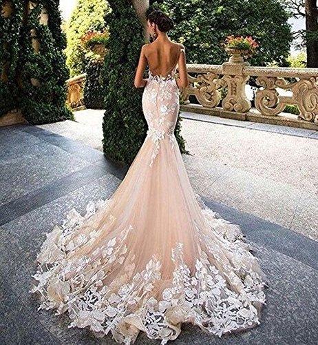 Donne Dressylady Da Abito Da 2017 Protezione Bianco Delle Sirena Del Della Manicotto Abiti Splendido Sposa Sposa Applique wwZEq4r