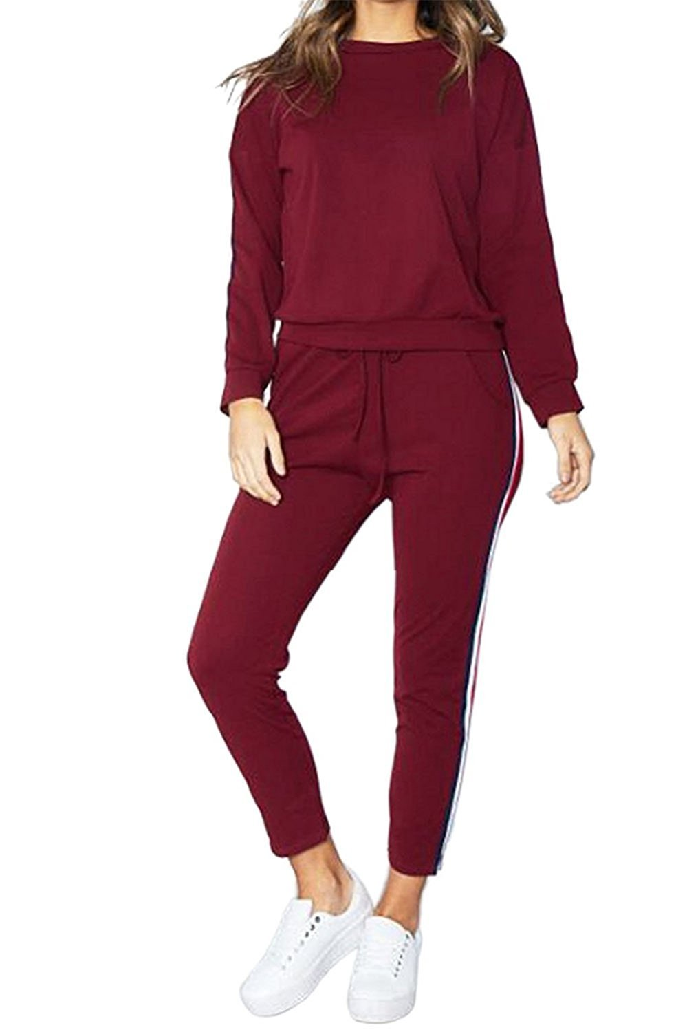 FOUNDO Women's 2 Pieces Outfits Stripe-Side Sweatshirt Pants Casual Tracksuit