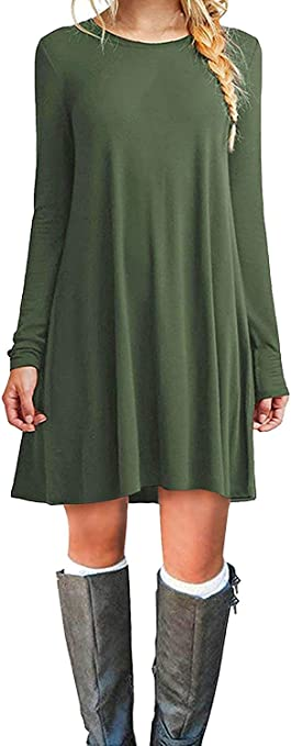 Women's Casual Plain Simple Long Sleeve T-Shirt Loose Dress