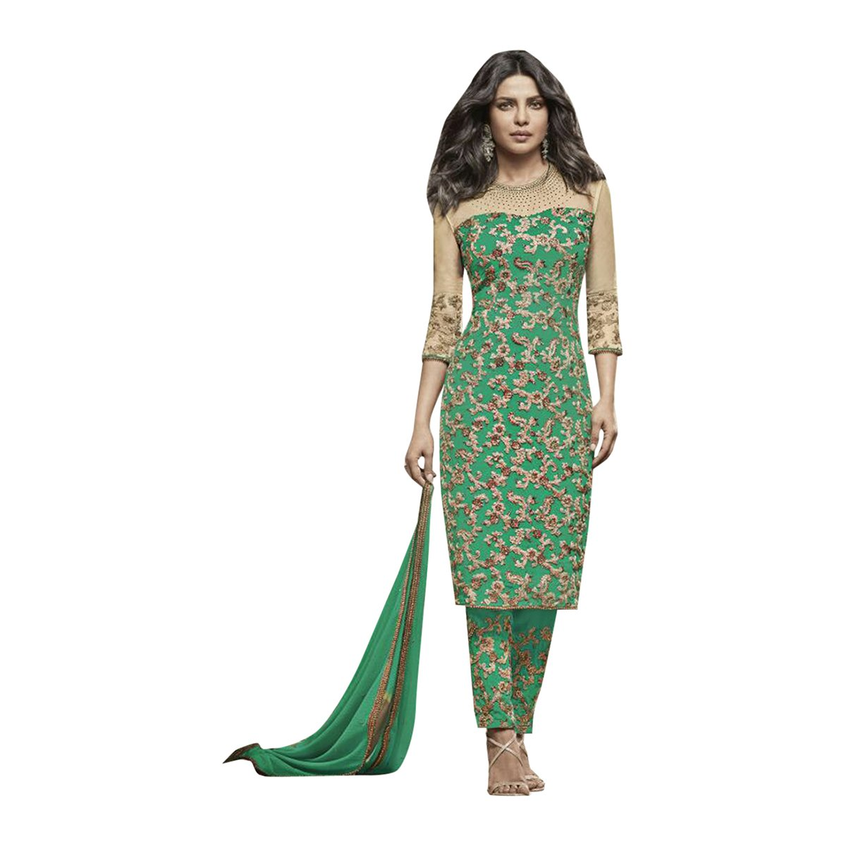 Priyanka Bollywood Designer Bridal Salwar Suit Kaftan Indian Ethnic Wedding Women Muslim Embroidery Zari Work 646 (Green) by ETHNIC EMPORIUM