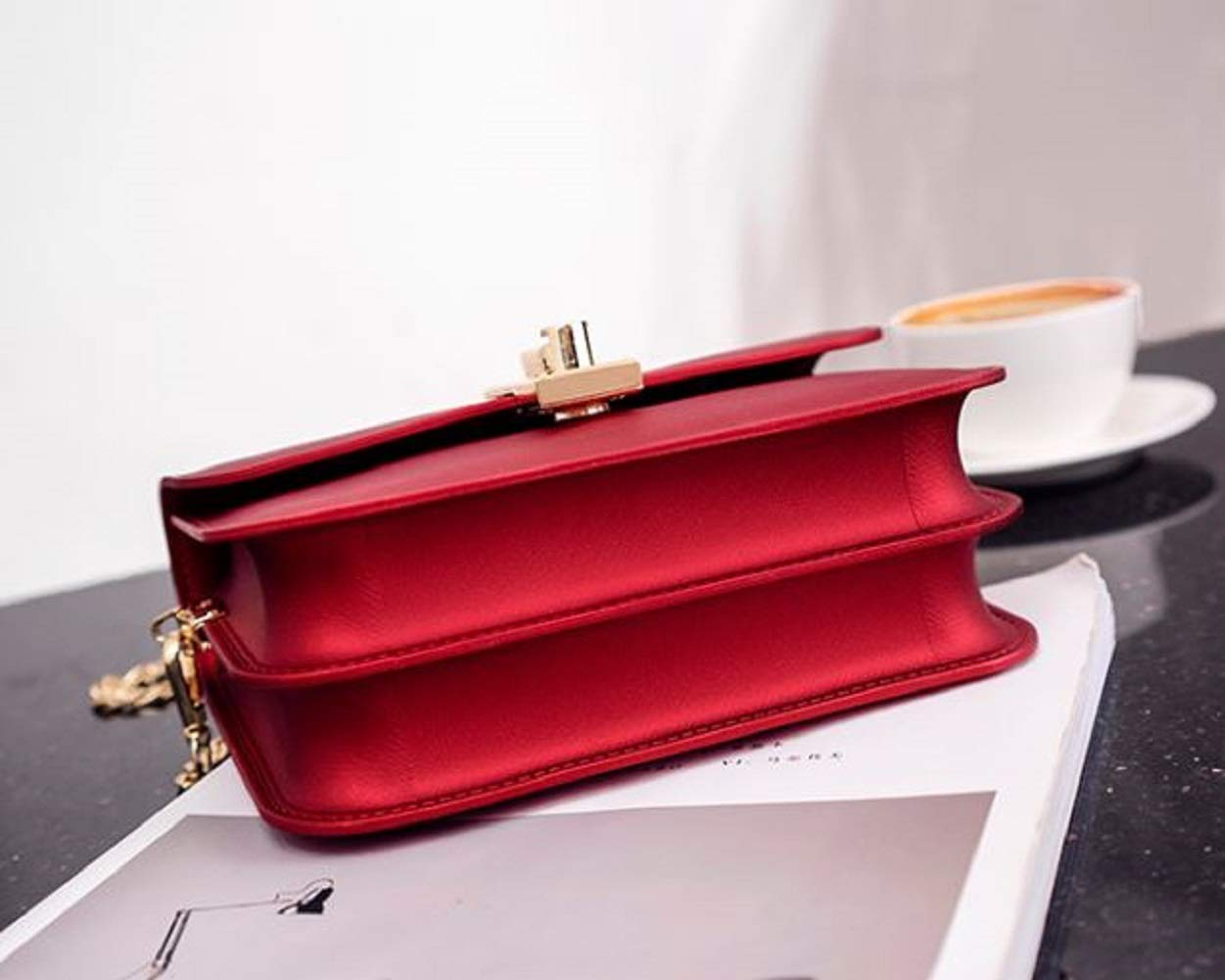 LF-JP PVC Evening bags for women [ Designer Clutch with Chain ] Shoulder Bag Cross body Purse (Red) by LF-JP (Image #8)