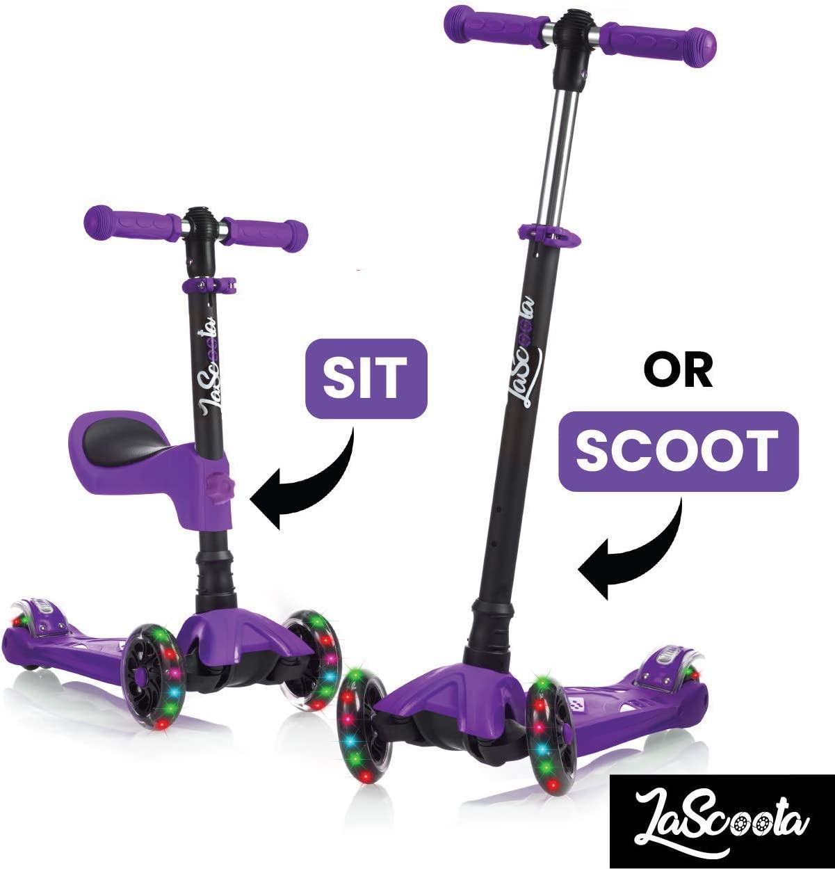 Lascoota 2-in-1 Kick Scooter with Removable Seat Great for Kids Toddlers Girls or Boys Adjustable Height w Extra-Wide Deck PU Flashing Wheels for Children from 2 to 14 Year-Old Renewed