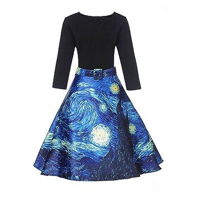 Xaviera Vintage 1950 s Vestidos Mujeres remiendo de LA impresión Pintada Muñeca Blue at Amazon Womens Clothing store: