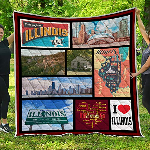 Illinois Quilt Pattern Blanket All-Season Quilts Comforters with Reversible Cotton King Queen Full Twin Size Quilted Campers Gifts RV Camping Lovers